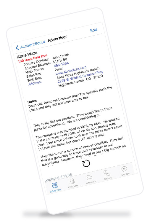 Newspaper software CRM shows advertisers on your phone